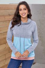 Gri Mavi Colorblock Thumbhole Kollu Sweatshirt