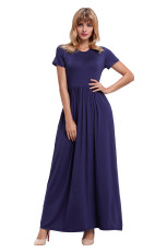 Navy Blue Short Sleeve Ruched Taille Maxi Dress