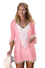 قلاب دوزی Pink Pom Trim Beach Dress پوشش