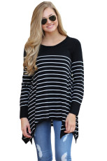 Black Striped Knit Pullover Sweater Top