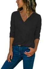Schwarzes, langärmliges Shirt mit V-Ausschnitt