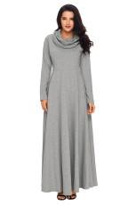 Grey Cow Neck langærmet Maxi Dress