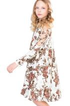 흰색 꽃 Crisscross 어깨 아이 드레스
