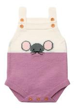 Lilac Little Mouse Bumbac Bodysuit costum fără mâneci pentru copii