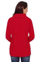 빨간색 단추 세부 사항 비대칭 카울 넥 셔츠
