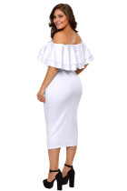 Hvit Layered Ruffle Off Shoulder Curvaceous Dress