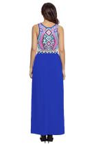 Şık Aztek Baskı Kolsuz Kraliyet Mavi Maxi Elbise