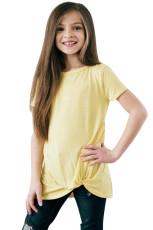 Geel Twist Drape shirt met korte mouwen voor meisjes