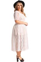 Fehér Plus Size Floral Csipke Flared Midi ruha