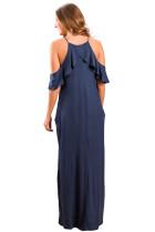 Navy Blue Ruffle Sleeve Cold Shoulder Maxi Dress
