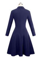 Indigo Kruvaze Vintage Alevlendi Elbise