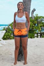 Orange Sea Gull Printed Women Swim Shorts