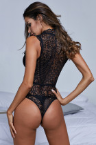 Svart V Neck Hollow-Out Lace Bodysuit