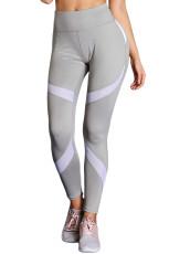 Pantalones de yoga deportivos de cintura alta grises con colorblock