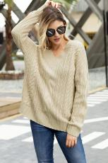 Kabelka Khaki Knit V Neck Sweater