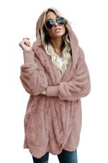 Pink Soft Fleece Hooded Open Front Coat
