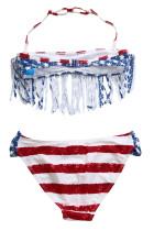 لباس شنا بیکینی برای دختران Fringed American Flag