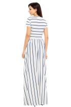 Sininen Striped Valkoinen lyhythihainen Maxi mekko