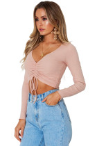 Vaaleanpunainen Cinched Lace Up Long Sleeve Crop Top