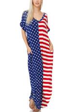 The Stars and Stripes V-Neck Pocket Maxi Kjole