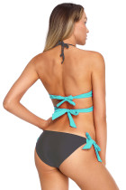 Mint Bungkus Depan Halter Bikini Tie Side Bottom Swimsuit