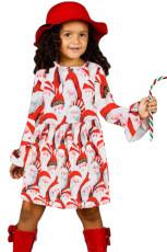 Noel Baba Allover Noel Küçük Kız Elbise