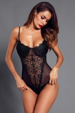 Body de malla de encaje negro Push up Teddy Lingerie