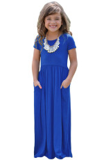 코발트 블루 짧은 소매 포켓 디자인 여자 맥시 드레스