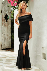 Negru Off The Shoulder O Sleeve Slit Maxi Party Dress rochie