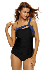 Royal Blue Curele Accent Black One Piece Costum de baie