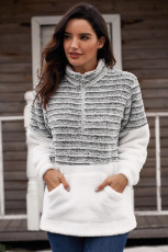 Kömür Fuzzy Çizgili Kürklü Sweatshirt