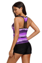 Tankini Top Purple Print Tummy Control Sport