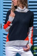 코랄 그레이 컬러 블럭 디테일 네이비 스웨터