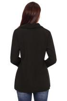 블랙 단추 세부 사항 비대칭 카울 넥 셔츠