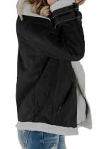 Jaket Hitam Faux Suede dengan Zipper Pockets