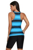 Modrá černá Ombre Print Racerback plavky Tankini
