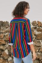 Camisa moderna de rayas multicolor para mujer