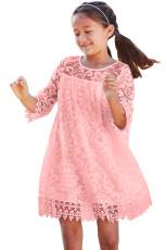 Pembe Kızlar Rüya Dantel Elbise