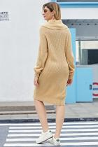 Apricot Heap Collar Mini Knit Dress