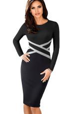 Vestido ajustado con manga larga en la cintura en contraste negro