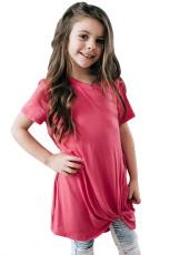 Розовый Twist Drape с коротким рукавом для девочек