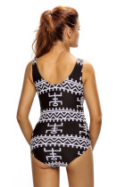 Monochrome Pictographic Lace-up V-hals Teddy zwemkleding