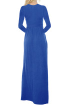 Royal Blue Long Sleeve Button Down Casual Maxi Kjole