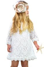 Hvit Blomsterjenter Lace Mini Dress