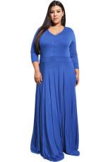 로얄 블루 플러스 사이즈 포켓 V 넥 맥시 드레스