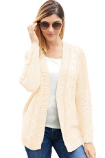White Chunky Wide Long Sleeve Knit Cardigan