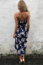 Deep V Neck Multicolor květinové Boho šaty v Navy Blue