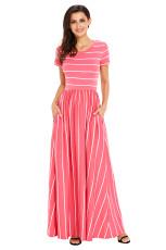 Hvid Stripet Rosy Short Sleeve Maxi Dress