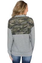 카모 스플 라이스 그레이 캥거루 포켓 지퍼 칼라 스웻 셔츠