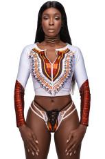 Biały strój afrykański spakowany Tankini i strój kąpielowy Strappy Lace Up